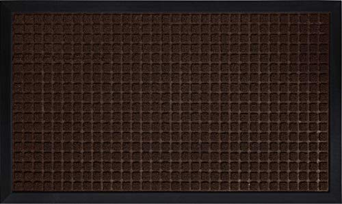 Gorilla Grip Original Durable Natural Rubber Door Mat, 29x17 Heavy Duty Doormat, Indoor Outdoor, Waterproof, Easy Clean Low-Profile Mats for Entry, Garage, Patio, Busy Areas, Coffee Squares