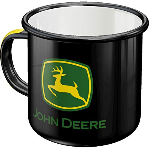Nostalgic-Art 43209 Retro Emaille-Becher John Deere – Logo – Geschenk-Idee für Traktor-Fans, Camping-Tasse, 360 milliliters, Vintage Design
