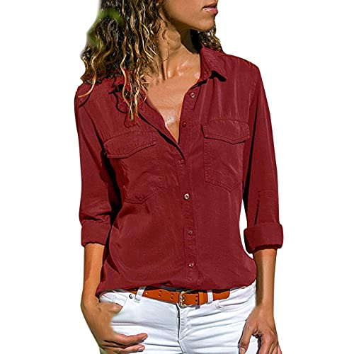 Zldhxyf Blusa básica para mujer, de manga corta, con cuello en V, informal, de un solo color, camiseta sin mangas, rojo, XXXXXL