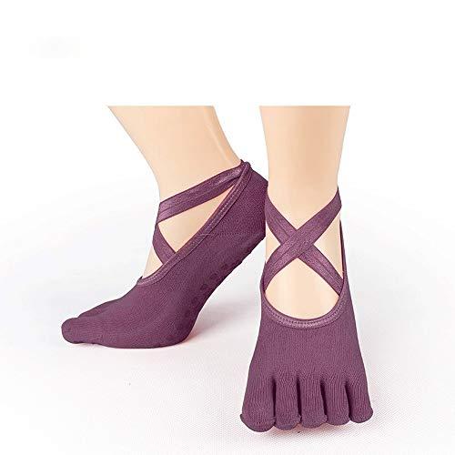 Cfiret Calcetines de Entrenador de Mujer Calcetines Yoga Absorbente de Humedad de Silicona Transpirable orgánica cómodo de Alta Elasticidad (Color : Purple)