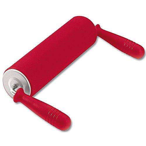Kaiser Inspiration Teigrolle, Nudelholz mit Winkelgriffen 17,5 cm, Silikon mit Metallkern, ergonomische Griffe, hitzebeständig bis 200°C, rot