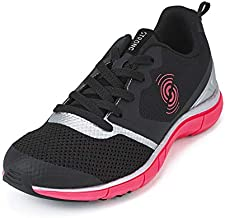 Strong iD Fly Fit Athletic Workout Shoes for Women with High Impact Support, Black/Silver, 5.5