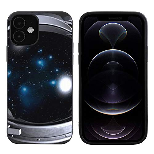 Nck Motorcycle Helmet Astronaut Space Unit Liquid Silicone Case Compatible iPhone 12 Gel Rubber Full Body Protection Cover Case Drop Protection Case Black