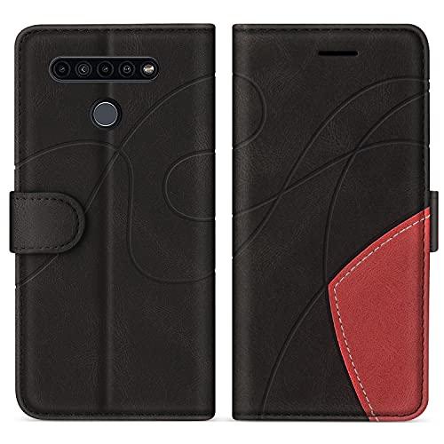 SUMIXON Hülle für LG K41S / LG K51S, PU Leder Brieftasche Schutzhülle für LG K41S / LG K51S, Kratzfestes Handyhülle mit Kartenfächern & Standfunktion, Schwarz