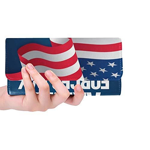 Einzigartige Benutzerdefinierte Streitkräfte Tag Vorlage Poster Design Frauen Trifold Brieftasche Lange Geldbörse Kreditkarteninhaber Fall Handtasche