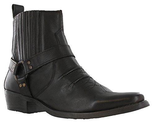 Maverick - Botas de tobillo para hombre de piel vaquera con arnés occidental y tacón cubano, color Marrón, talla 44 EU