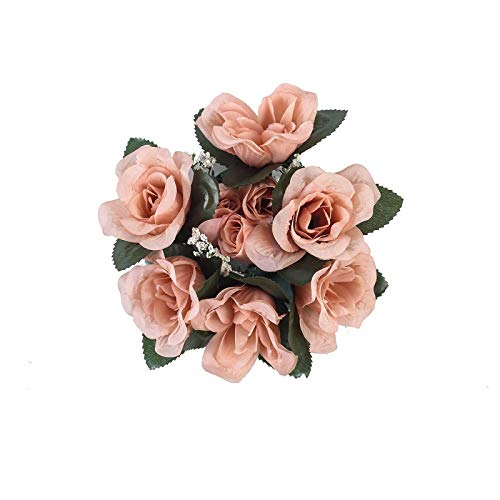 BalsaCircle 4 Dusty Rose Silk Roses Candle Rings - Artificial Flowers Wedding Party Centerpieces Arrangements Bouquets Supplies
