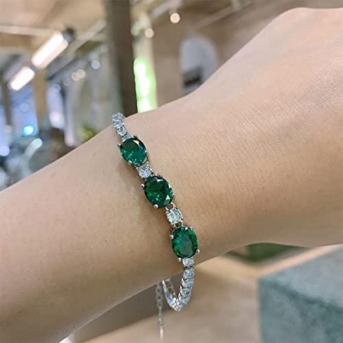 FIISH Plata de Ley 925 7 * 9 Mm Piedra Esmeralda rubí Laboratorio Pulsera de Hilo de Diamantes para Mujer Regalo de joyería de Fiesta