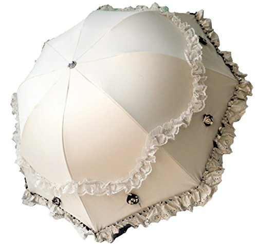 Women Parasol Travel Compact Lace Sunshade Anti-UV Windproof Rain Umbrella (beige)