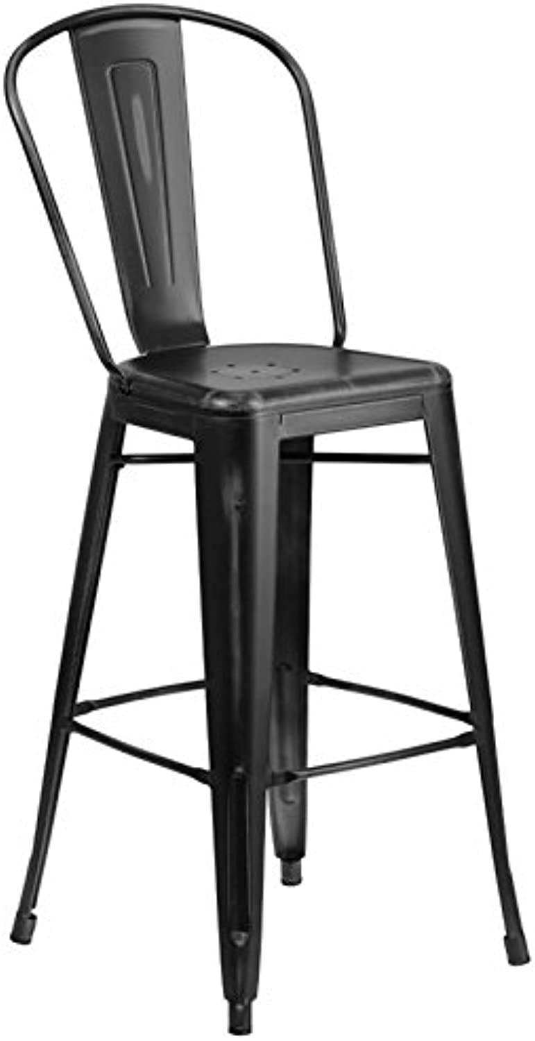 Bowery Hill 30  Metal Bar Stool in Distressed Black