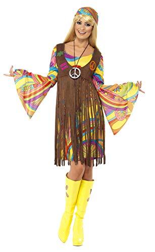 Smiffys-35531L Hippies Chica estupenda de los 60, con Vestido, Chaleco Estampado y Banda para el Pelo, Color marrón, L-EU Tamaño 44-46 (Smiffy