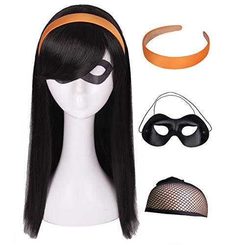 Kids Wig with Orange Headband and Eye Mask (Long Straight Black Natural Cosplay Wig )