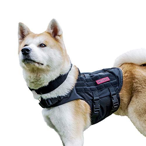 OneTigris K9 Tactical Dog Harness Patrol Dog Vest with Comfortable Adjustable Neck Protection Straps & Durable Handle (Black, Medium)