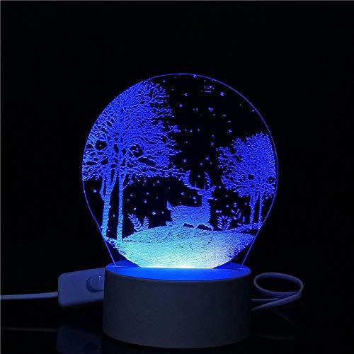 Blauw nachtlampje met 3D-licht, creatief cadeau voor slaapkamer, USB-stekker, kleine tafellamp, vriendin of vriendin.