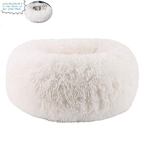 JCT Betten für Katzen Katzenbett Hundebett Plüsch Weich Runden Katze Schlafen Bett Klein Hund Bett Haustierbett,Rutschfester -Verbesserter Schlaf – Maschinenwaschbar (Weiß 11lbs)