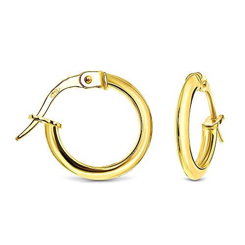 Miore Ohrringe Damen klassische Creolen aus Gelbgold 18 Karat/ 750 Gold, runde Ohrschmuck 14.5 x 14.5 mm