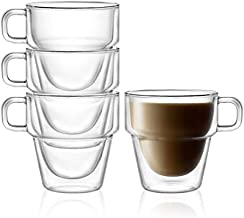 Stoiva Double Wall Insulated Coffee Mugs – 11.5 oz Glasses Set with Handle, Ideal for Hot and Cold Drinks – Large Mugs for Coffee, Latte, Cappuccinos, Tea – Stackable, Sleek Modern Design – Set of 4