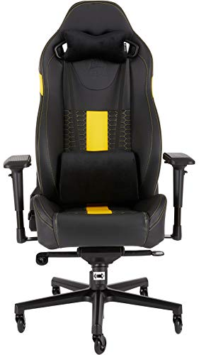 Corsair T2 Road Warrior - Faux Leather Gaming Office Chair, Easy Assembly, Ergonomic Swivel, Adjustable Height & 4D Armrests, Lumbar Support, Comfortable Wide Seat with High Recliner - Black/Yellow