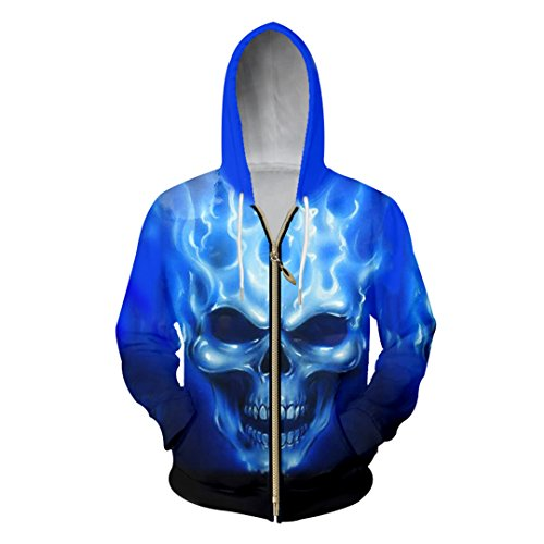 Hombres/Mujeres 3D Impreso Blue Flame Skull Chaqueta Sport Pullover Zipper Hoodies Sudadera Blue M