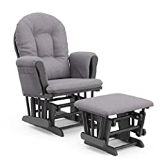 PREMIUM COMFORT: The Storkcraft Premium Hoop Glider and Ottoman offers you generous seating room, comfortable padded arm cushions with convenient storage pockets, and enclosed metal ball bearings for a smooth gliding motion to gently rock you and you...