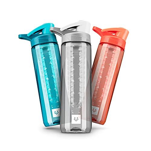 Alphatrail Botella Agua Tritan Jacob 750ml Gris 100% Prueba de fugas I sin BPA & Ecológicamente I Seguro Lavavajillas I Abertura para beber funcional para una óptima hidratación durante el deporte