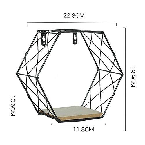 Lispeed Design-bijzettafel, metalen mand, met houten deksel, decoratief, zwevende planken, aan de muur gemonteerd, plankenset van metaaldraad, rustieke tentoonstelling