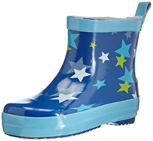 Playshoes Jungen Kinder Halbschaft-Gummistiefel aus Naturkautschuk, trendige Unisex Regenstiefel mit Reflektoren, mit Sternen-Muster, blau, 26 EU
