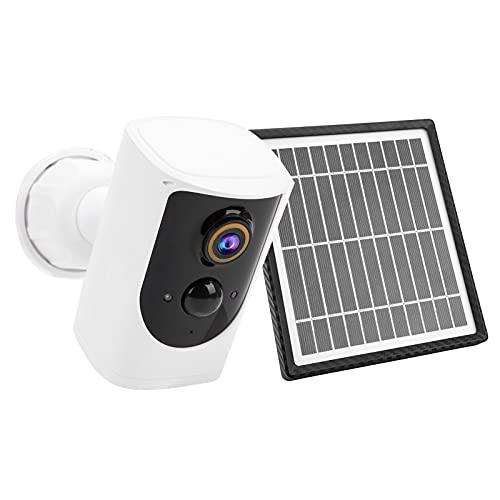 Cámara WIFI 1080P con panel solar, cámara de seguridad para el hogar con energía solar, visión nocturna, detección de movimiento, audio bidireccional, nivel de impermeabilidad IP65