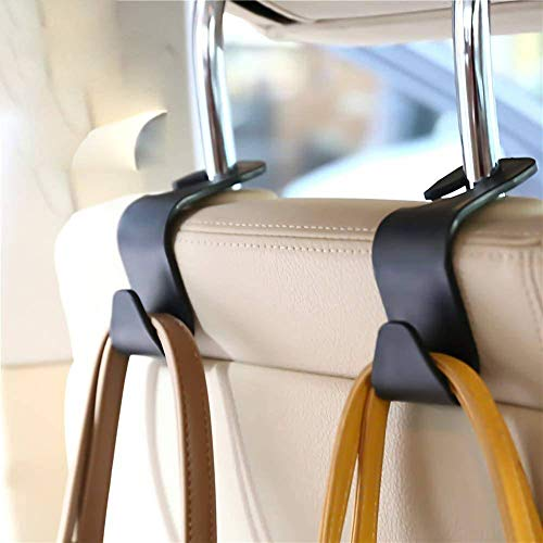 FJCTER Car Vehicle Headrest Hooks with 44 LB Load Capacity Durable Back Seat Hangers with Intimate Design Portable Organizer Holder for Handbag Purse Cloth Grocery (4 Pack)