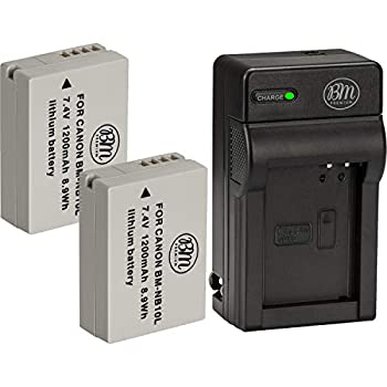 BM Premium 2 Pack of NB-10L Battery and Charger Kit for Canon PowerShot G15 G16 G1X G3X SX40 HS SX40HS SX50 HS SX60 HS Digital Camera