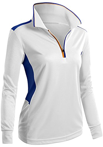 CLOVERY Breathable Functional Coolmax Fabric Long Sleeve Casual POLO WHITE US L/Tag L