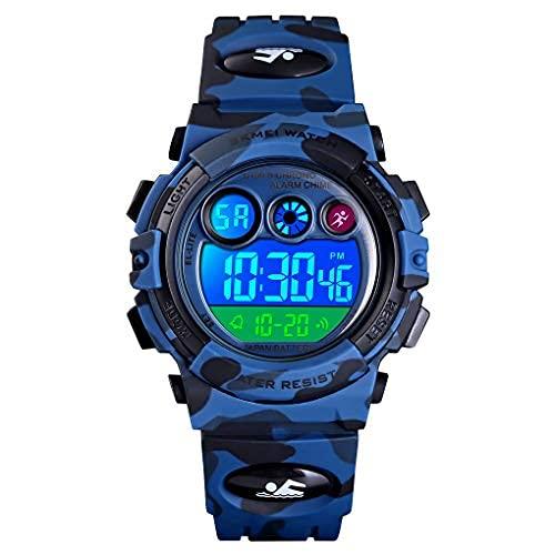 Reloj Niños, Reloj para Niños Digital Sport Multifunción Cronógrafo LED 50M Impermeable Alarma Reloj Analógico Camuflaje Militar para Niños con Banda de Silicona