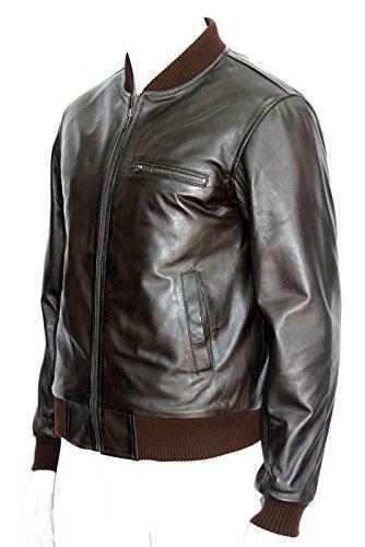 HOMMES manchette élastique et le style rétro Brown Bomber LAMSKIN vestes en cuir de COL 70 (UK 3XL / EU 58)