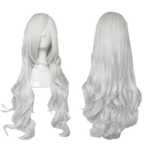 [L'ange] Perruques magnifique perruques de cosplay ondulées,argent blanc