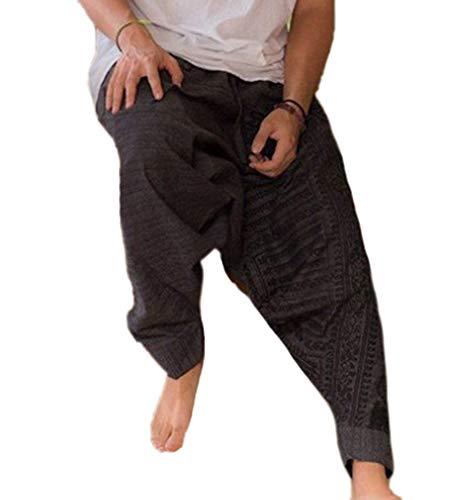 Huateng Pantaloni Casual Stile Etnico da Uomo, Pantaloni Harem Allentati con Coulisse in Vita Elasticizzata