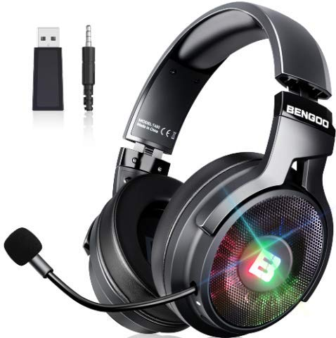 BENGOO 2.4G Wireless Gaming Headset Headphones with Microphone for PS4 PS5 PC, 3.5mm Wired for Xbox One, RGB Over-Ear Noise Cancelling Headphones with 7.1 Surround Sound, Retractable Mic, Up to 17 Hrs