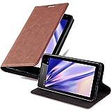 Cadorabo Hülle für Nokia Lumia 535 - Hülle in Cappuccino BRAUN – Handyhülle mit Magnetverschluss, Standfunktion & Kartenfach - Case Cover Schutzhülle Etui Tasche Book Klapp Style
