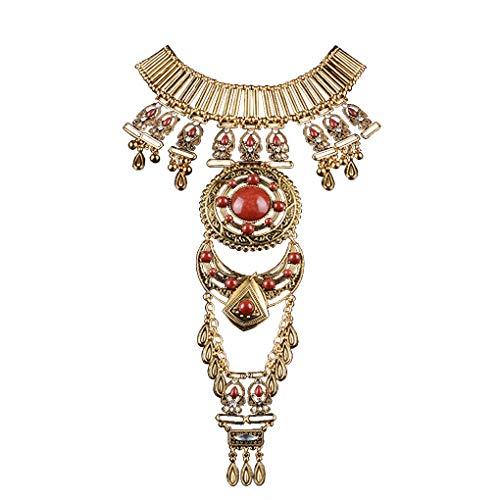 Womens Vintage Boho Statement Turquoise Necklace Ethnic Tribal Long Beaded Jewelry