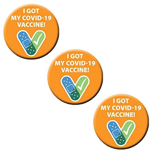 Badge-A-Minit 1 1/4' Covid 19 Vaccine Buttons (Orange, 3)