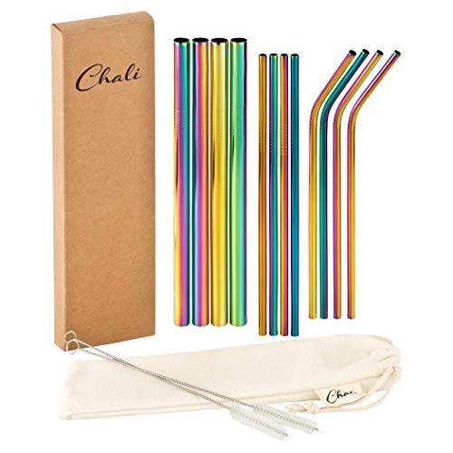Chali® 12x Pajitas Reutilizables Acero Inoxidable, Cañitas para Beber aptas Lavavajillas 21,5cm Incl. 2X Cepillo de Limpieza, Colorido 4X ø12mm 8X ø6mm