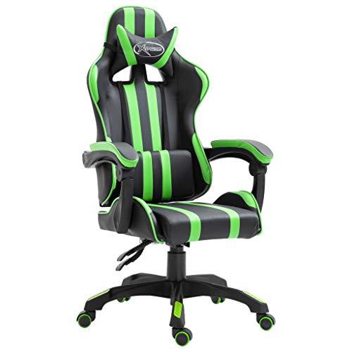vidaXL Gamingstuhl Bürostuhl Computerstuhl Schreibtischstuhl Drehstuhl Chefsessel Gaming Stuhl Grün PU Liegefunktion Höhenverstellbar Ergonomisch