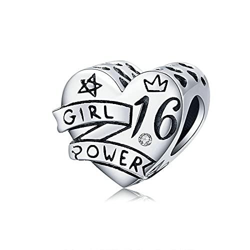 LIJIAN DIY 925 Sterling Jewelry Charm Beads Desing Years Old Birthday Girl Power Hacer Originales Pandora Collares Pulseras Y Tobilleras Regalos para Mujeres