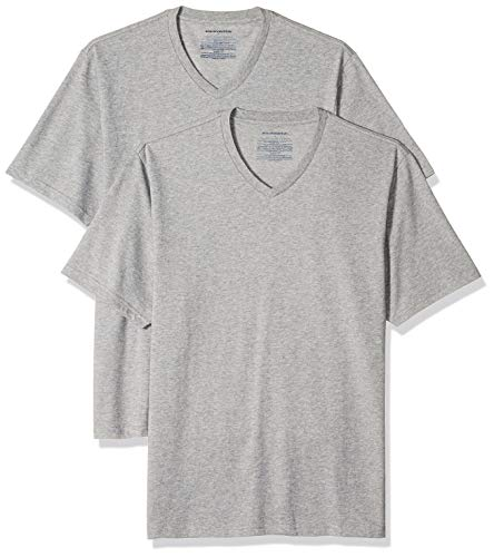 Amazon Essentials 2-Pack Loose-Fit V-Neck fashion-t-shirts, Grau (Heather Grey Hea), XXL