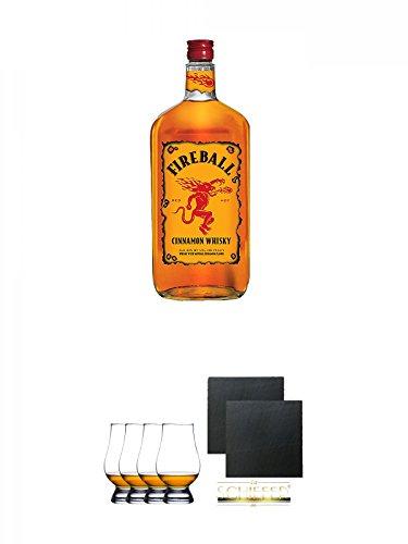 Fireball Whisky Zimt Likör Kanada 0,7 Liter + Glencairn Glas Whiskyglas Stölzle 4 Stück + Schiefer Glasuntersetzer eckig ca. 9,5 cm Ø 2 Stück