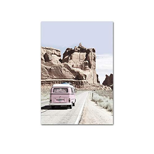 LiMengQi2 Scandinavian Cactus Bus Desert Travel Landscape Poster Nordic Nature Impresión en Lienzo Arte de la Pared Pintura Home Room Decoration Picture (Sin Marco)