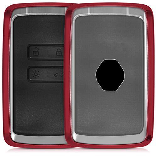 kwmobile Autoschlüssel Hülle für Renault - TPU Schutzhülle Schlüsselhülle Cover für Renault 4-Tasten Smartkey Autoschlüssel (nur Keyless Go) Hochglanz Rot Transparent