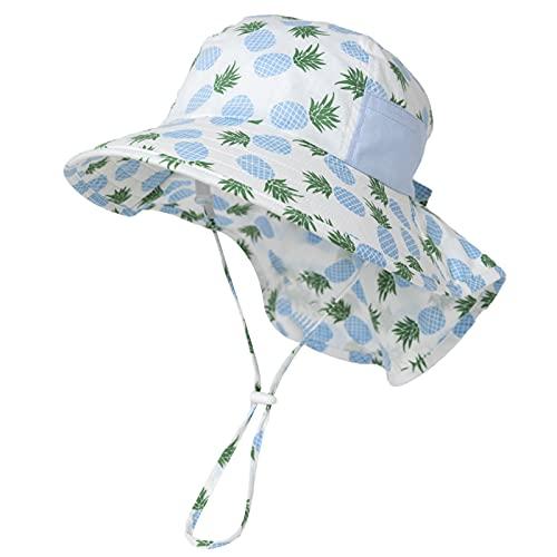 Comhats Sombrero de playa para bebé, sombrero de bebé, sombrero para niñas, plegable, con impresión de frutas, sombrero de sol, sombrero de pescado, sombrero de pesca, UPF50 92584_azul 1 mes