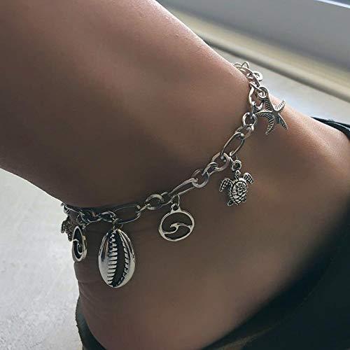 Jovono Bohemia Beach cadena tobillera Shell, ola de mar, estrellas de mar pulseras joyas de pie para mujeres y niñas (plata)