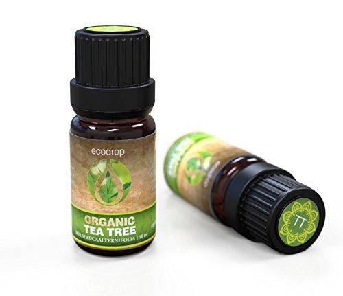 Aceite esencial de arbol de te australiano (Melaleuca alternifolia) con el certificado ecologico COSMOS, grado terapeutico para aromaterapia, con libro electronico de Ecodrop de regalo, 10 ml