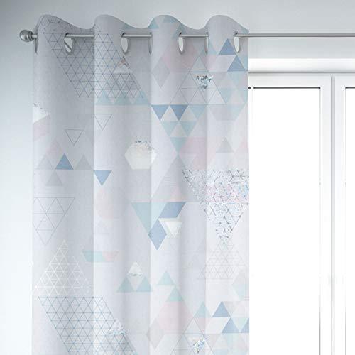 Mooi leven. Gordijn metallic driehoek wit blauw roze 245cm of gewenste lengte, gordijnen ophanging: oogjes